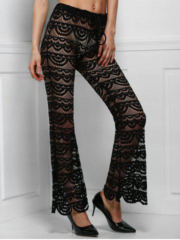 Trendy Sexy Lace See-Through Solid Color Pants For Women BLACK XL