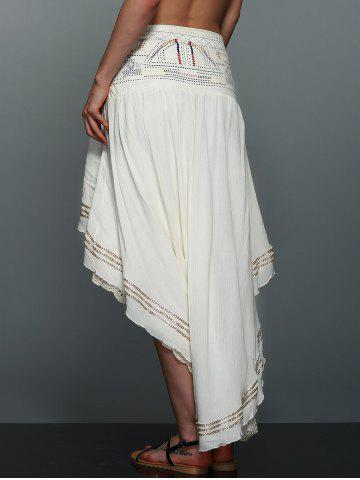 Latest High-Low  Printed Asymmetric Skirt - L OFF-WHITE Mobile