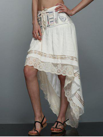 Latest High-Low  Printed Asymmetric Skirt - XL OFF-WHITE Mobile