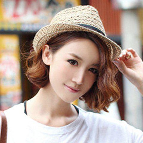 Hot Hollow Out Crochet Straw Hat - COFFEE  Mobile