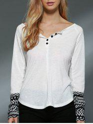 Trendy Scoop Collar Long Sleeve Slimming Printed Women's Knitwear