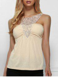Elegant Gauze and Rhinestone Spliced Sleeveless T-Shirt For Women