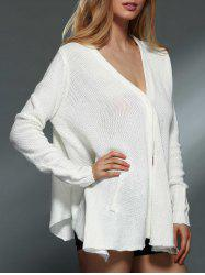 Simple Style Solid Color V-Neck Long Sleeve Asymmetric Cardigan For Women