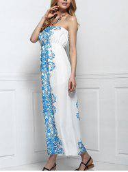Strapless Chiffon Bandeau Floral Maxi Dress -
