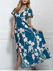 Stylish V-Neck Short Sleeve Floral Print Maxi Dress For Women