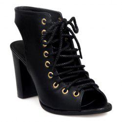 Slingback Lace Up Bootie Sandals - BLACK