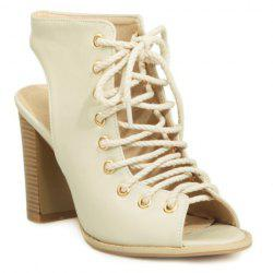 Slingback Lace Up Bootie Sandals - OFF-WHITE