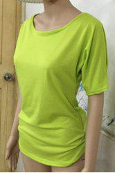 Stylish Scoop Neck Short Sleeve Solid Color Hollow Out T-Shirt For Women -
