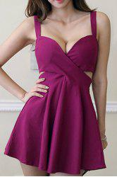 Sexy Sweetheart Neck Sleeveless Solid Color Hollow Out Dress For Women -