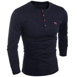 Round Neck Edging Design Long Sleeve Buttons Embellished T-Shirt For Men - BLACK XL