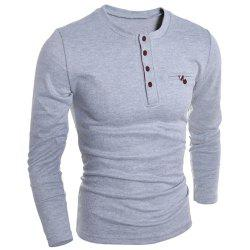 Round Neck Edging Design Long Sleeve Buttons Embellished T-Shirt For Men - GRAY