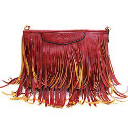 Stylish Metal and Fringe Design Crossbody Bag For Women -