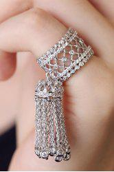 Chic Rhinestoned Hollow Out Tassel Ring For Women -