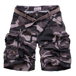 Zip Fly Flap Pockets Camouflage Cargo Shorts With Belt