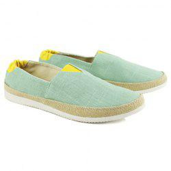 Flat Color Block Slip On Canvas Shoes - Vert Clair