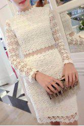 Sweet Stand Collar See-Through Long Sleeve Dress For Women -
