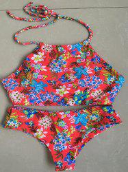Chic Halter Braid Floral Printed Bikini Set For Women -
