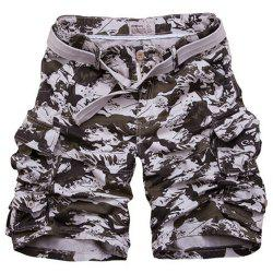 Loose Fit Zipper Fly Camo Fifth Cargo Shorts With Belt For Men -