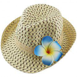 Fashionable Hollow Out Floral Embellished Straw Hat For Women -