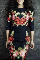 Elegant Round Neck Long Sleeves Floral Print Women's Dress -