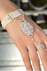 Multi-Layered Faux Pearl Rhinestone Bracelet With Ring -