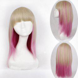 Charming Long Straight Synthetic Harajuku Golden Pink Ombre Full Bang Cosplay Wig For Women - OMBRE 1211#