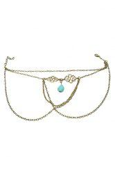 Trendy Ethnic Turquoise Water Drop Arm Chain Jewelry For Women - BRONZE-COLORED