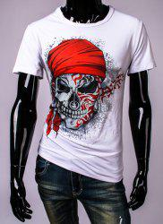 3D Pirate Skull Printed Round Neck Short Sleeve T-Shirt For Men - WHITE
