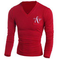 V-Neck Letters Embroidered Long Sleeve Pocket Embellished T-Shirt For Men
