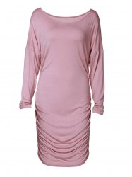 Skew Neck Long Sleeve Ruched Dress - APRICOT S