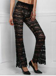 Sexy Lace See-Through Solid Color Pants For Women - BLACK