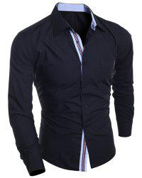 Slimming Turn-Down Collar Stripe Edging Design Long Sleeve Shirt For Men