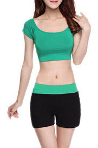 New Chic Scoop Neck Short Sleeve Hit Color Women's Yoga Suit