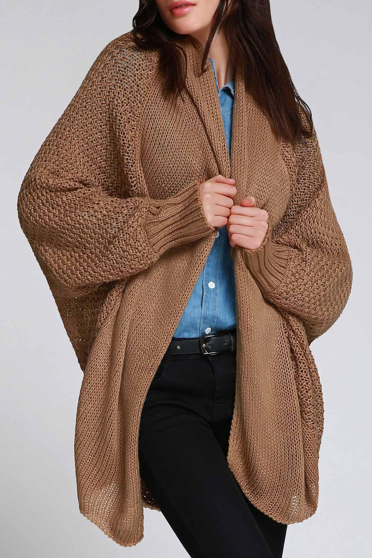 Trendy Stylish Long Batwing Sleeves Solid Color Knitted Loose Fitting Women's Cardigan