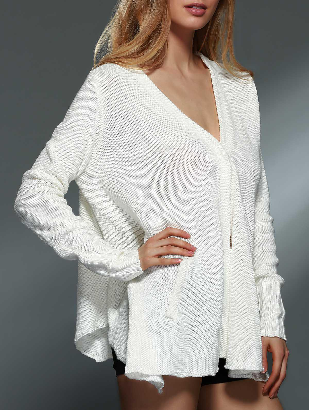 Trendy Simple Style Solid Color V-Neck Long Sleeve Asymmetric Cardigan For Women