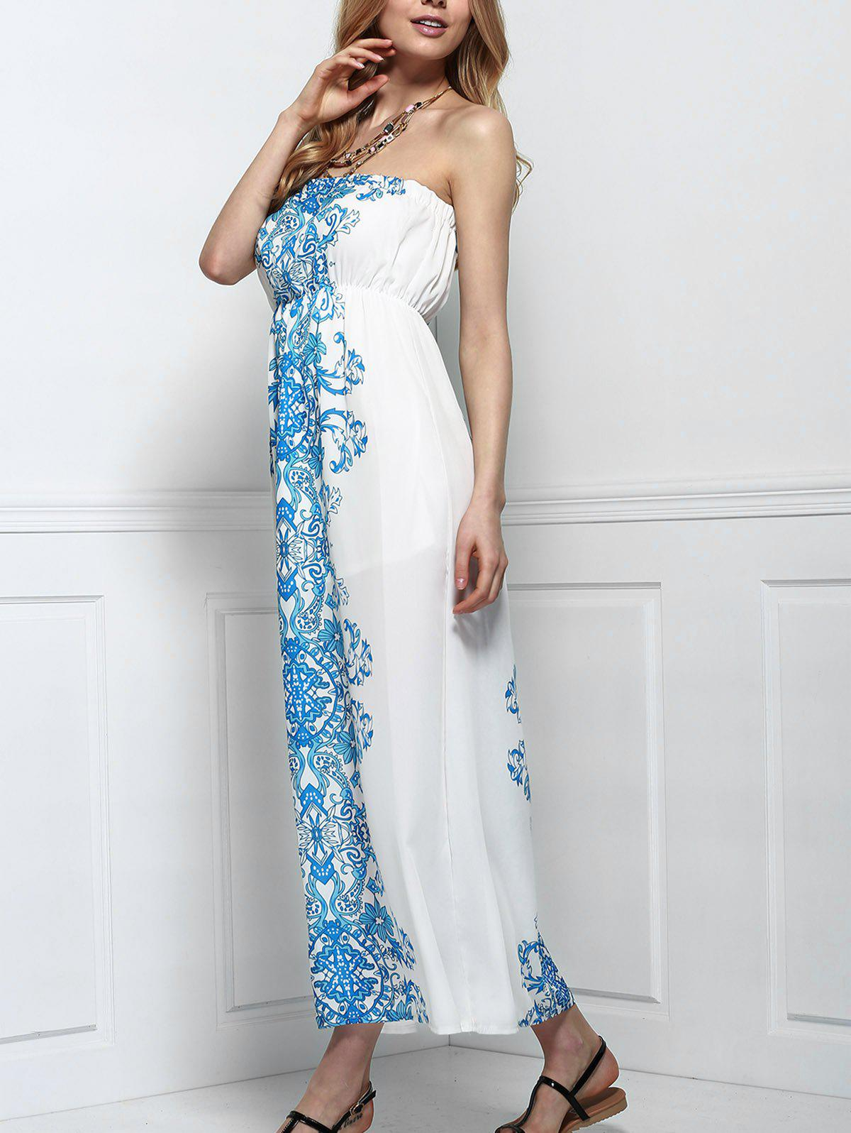 Sale Strapless Chiffon Bandeau Floral Maxi Dress