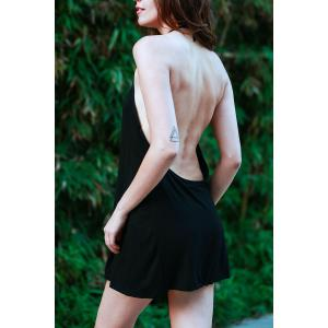 Halter Black Backless Mini Night Out Dress