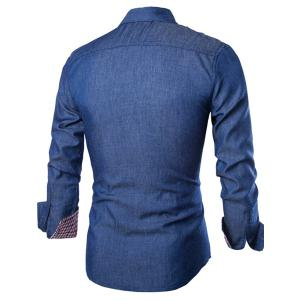 Stylish Shirt Collar Color Block PU Leather Pocket Hemming Slimming Long Sleeve Denim Shirt For Men - DEEP BLUE M