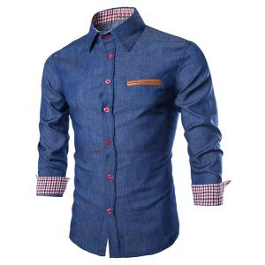 Stylish Shirt Collar Color Block PU Leather Pocket Hemming Slimming Long Sleeve Denim Shirt For Men - Deep Blue - 2xl