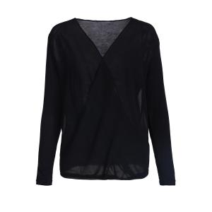 Trendy Cross-Over Collar Long Sleeve Chiffon Splicing Draped Women's Blouse