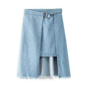 Trendy High-Waisted Irregular Hem Frayed Women's Denim Skirt