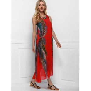 Maxi Boho Printed Swing Dress for Summer - RED ONE SIZE(FIT SIZE XS TO M)