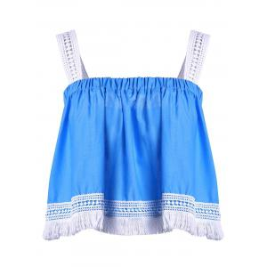 Women's Stylish Spaghetti Strap Lace Tassles Crop Top - Blue And White - L