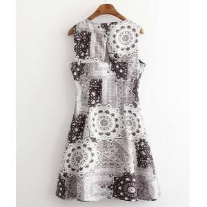Vintage Round Neck Sleeveless  Printed Women's Dress -