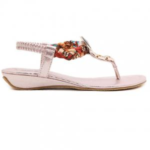 Bohemian T Strap Low Wedge Sandals - PINK 38