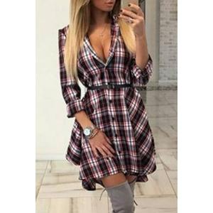 Checked Shirt Dress - Colormix - Xl