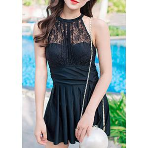 Chic Halter Sleeveless Lace Spliced Hollow Out Pleated Women's Swimwear