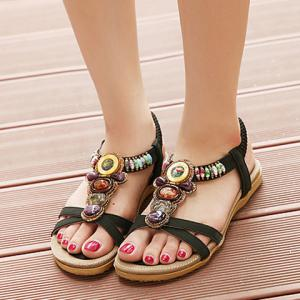 Leisure Color Block and Beading Design Sandals For Women -
