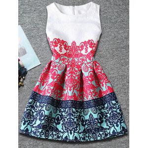 Cute Sleeveless Tribal Print Dress For Girl - Red - 150