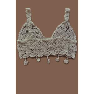 Crochet Flower Fringed Bathing Top - APRICOT ONE SIZE(FIT SIZE XS TO M)